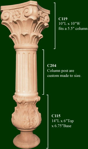 Decorative column handcarved and crafted wood