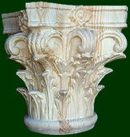 hand wood carved capitals, keys, and decorative columns