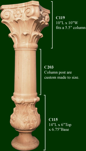 decorative columns are custom made to size
